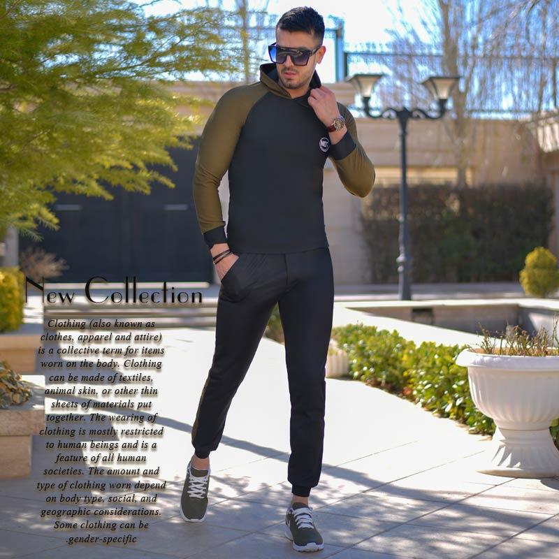 ست سویشرت و شلوار مردانه مدل Solso (مشکی سبز)