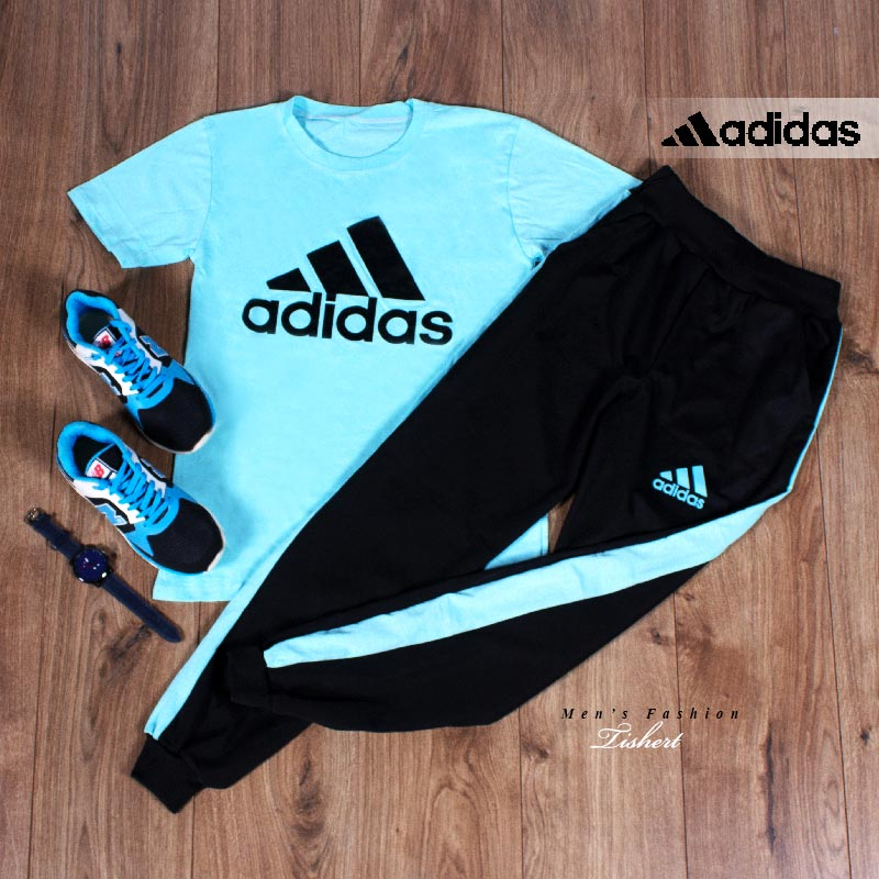ست تیشرت شلوار Adidas مدل Atro (فیروزه ای)